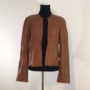 Nordstrom Ladies M Leather Jacket Carmel / Saddle